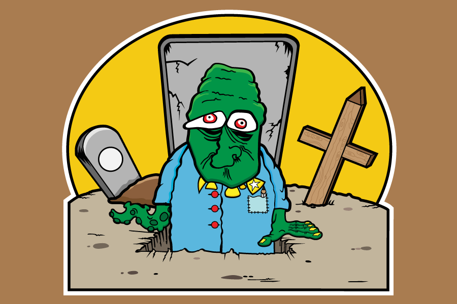 A green zombie with one arm and one tenticle coming out of a grave