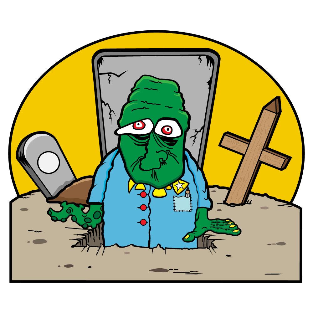 Grave Yard Man - a scary green zombie crawling out of a grave who has one arm and one tenticle