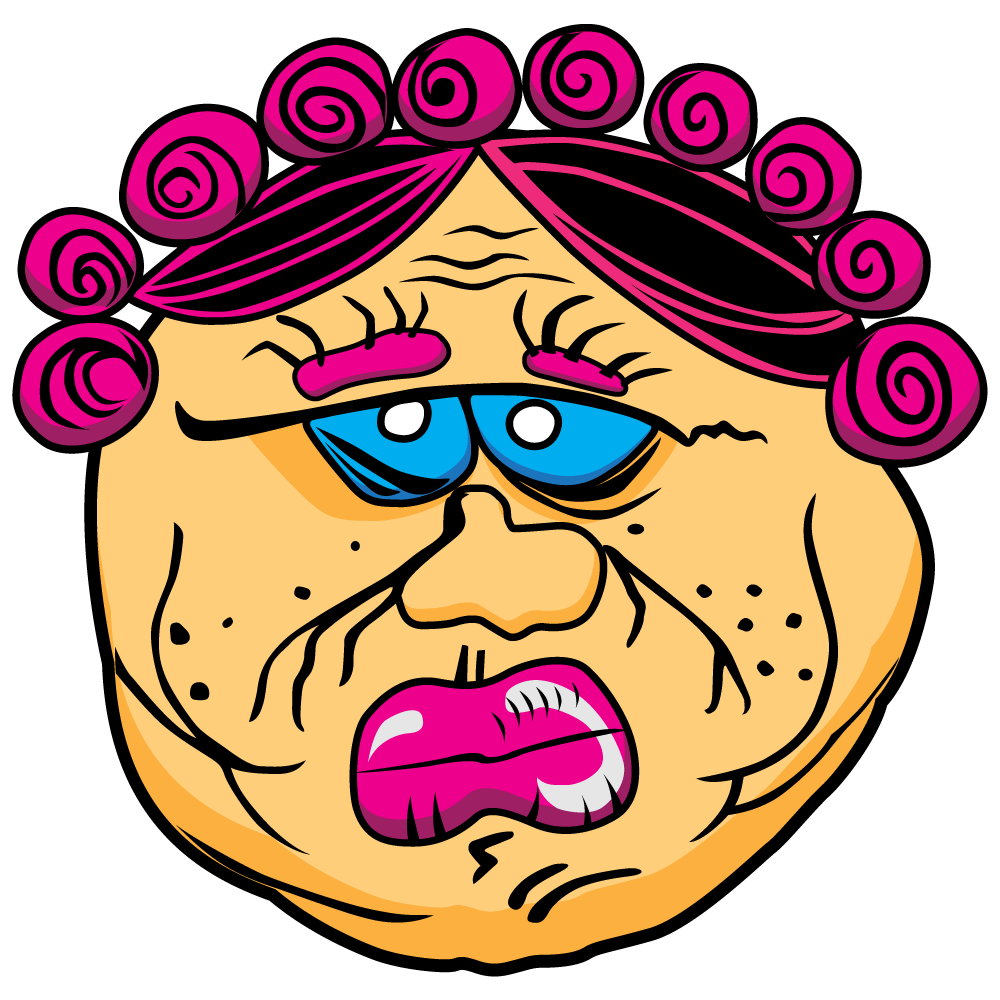 Man Mum - a grumpy old man with pink curlers in his hair and a big pink dummy in his mouth