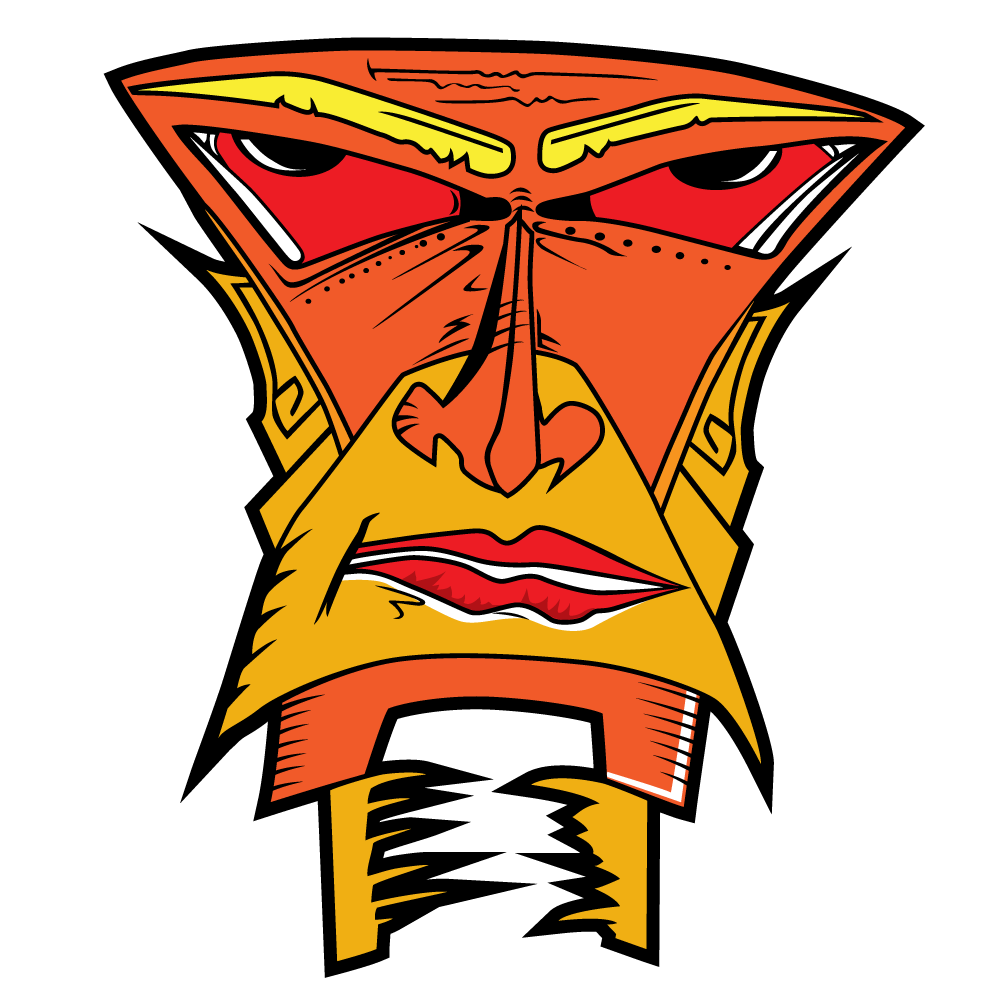 Goldo Roboto - a golden orange robot head from space with slanty red eyes, flat top head and pointy sharp ears
