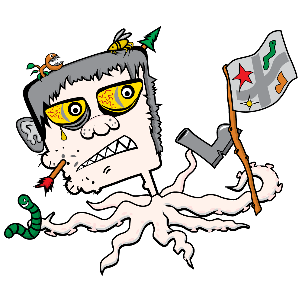 Shoe Lace Monster - a cute monster boy with light pink skin, yellow eyes, grey hair, seven tenticles for legs carrying a flag, boot and a green worm