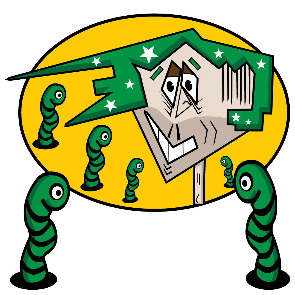 Square Head Boy - a boy with green square hair, a sharp jaw line and a two day growth plus six green worms looking at him